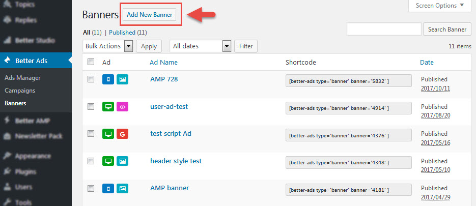 Create a new banner in Better Ads Manger plugin
