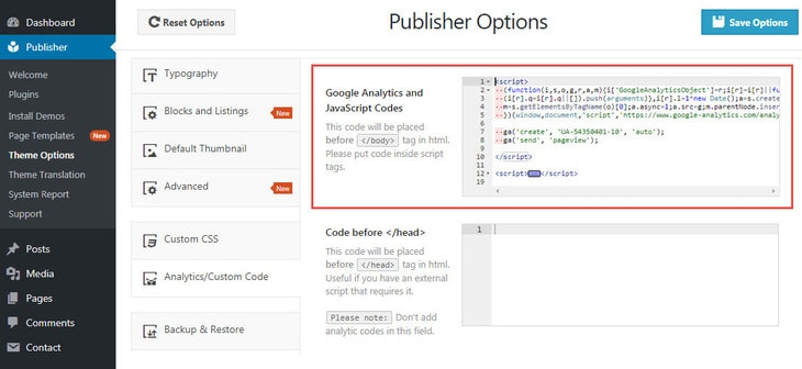 Google Analytics or any other codes before body end tag in Publisher