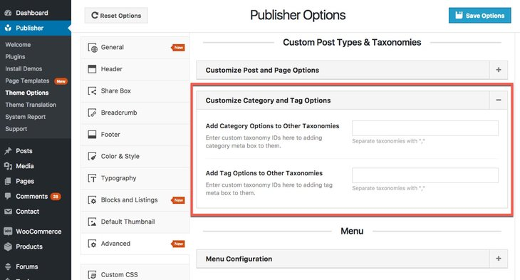 Add better option meta box to custom taxonomy in publisher