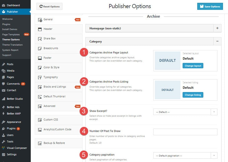 Category archive page option in publisher