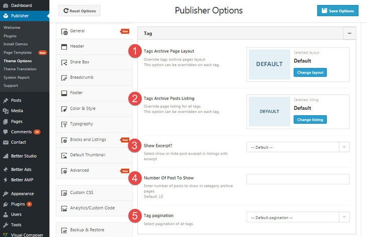 Tag archive page options in publisher