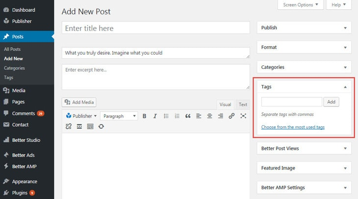 Create new tag in post editing page