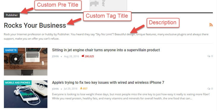 Tag archive page items in publisher WordPress theme