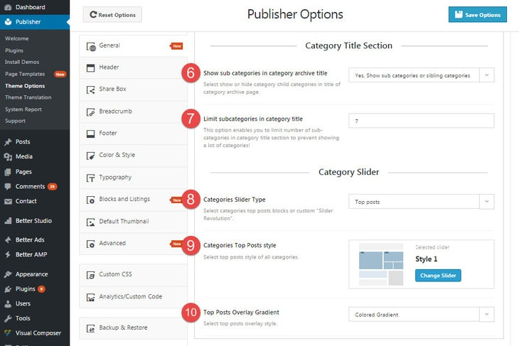 Category archive page option in publisher - page2