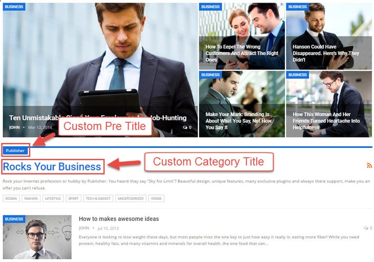 Category pre title & custom title in Publisher
