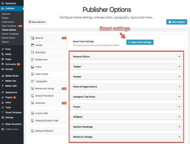 colors and styles option for Publisher theme