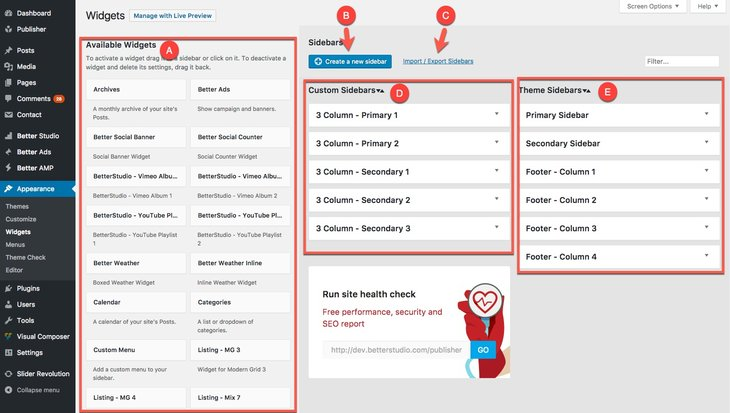 Custom sidebars page in Publisher