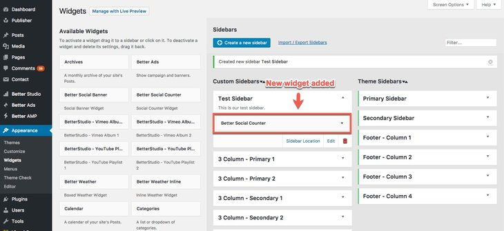 A new widget added to new sidebar in Publisher