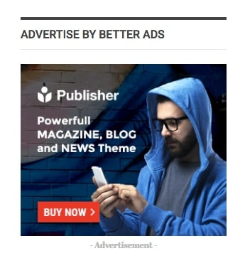 Better Ads widget in Publisher