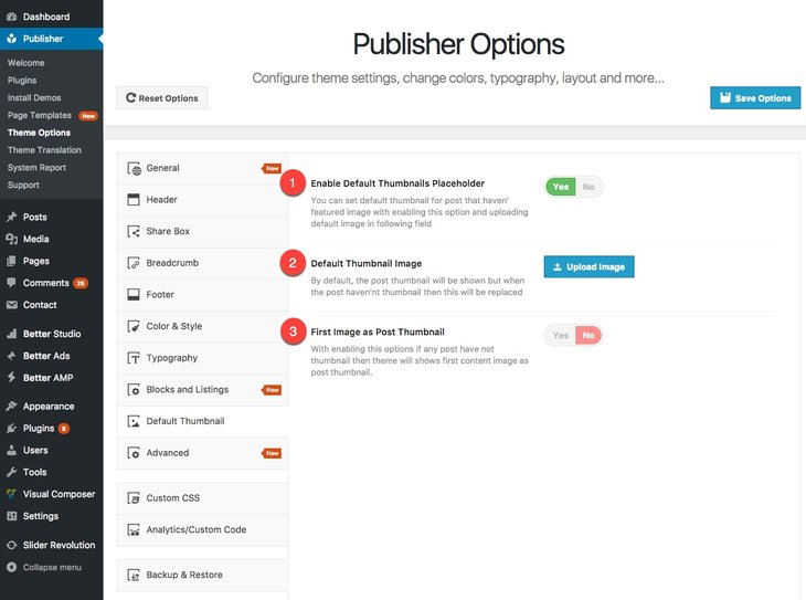 Set default thumbnail for Publisher