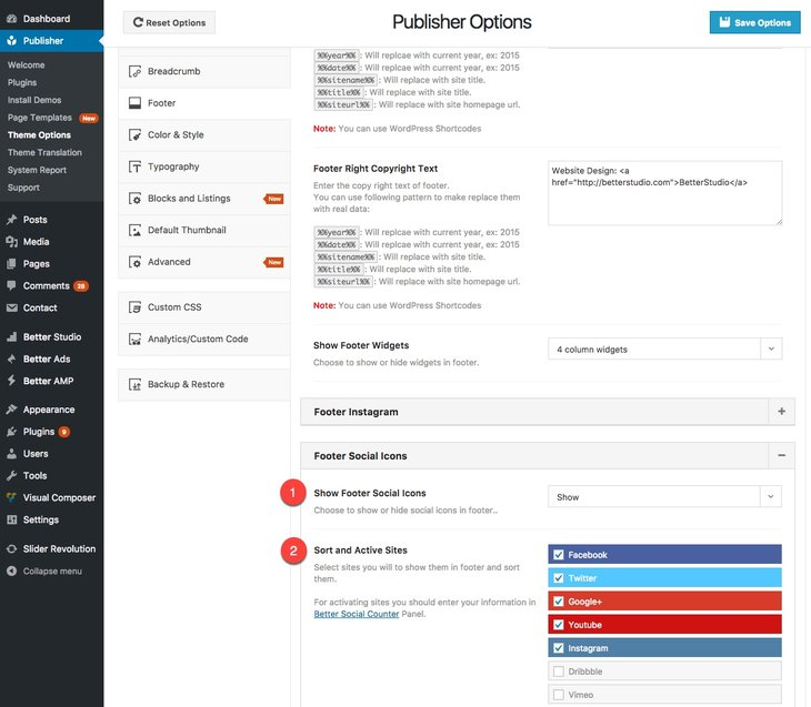 Footer social icon management in Publisher