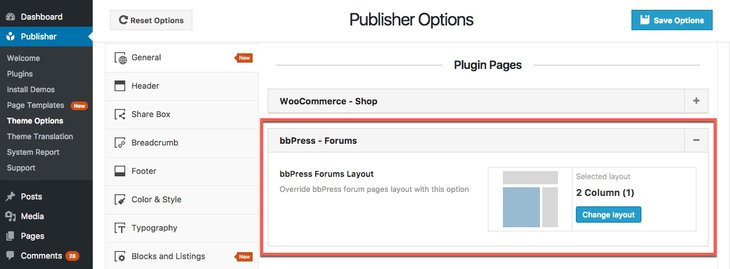 Forums options in Publisher
