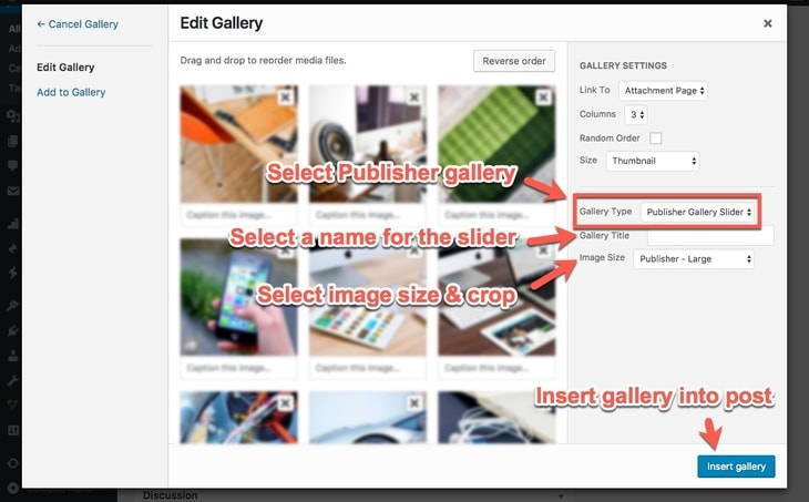 Create Publisher Slider Gallery