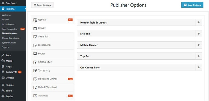 header options in Publisher