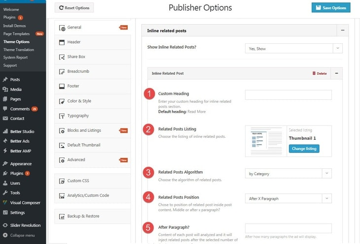 inline related posts option in Publisher - 1