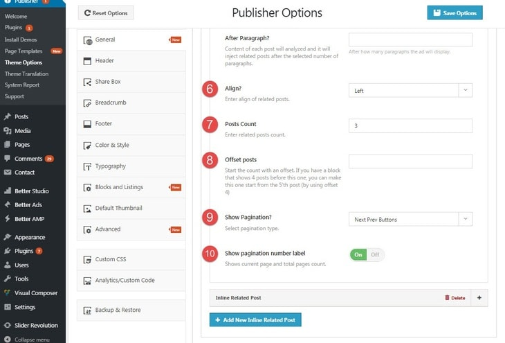 inline related posts option in Publisher - 2