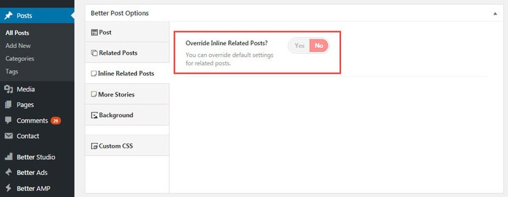 Turn on inline related posts override in Publisher