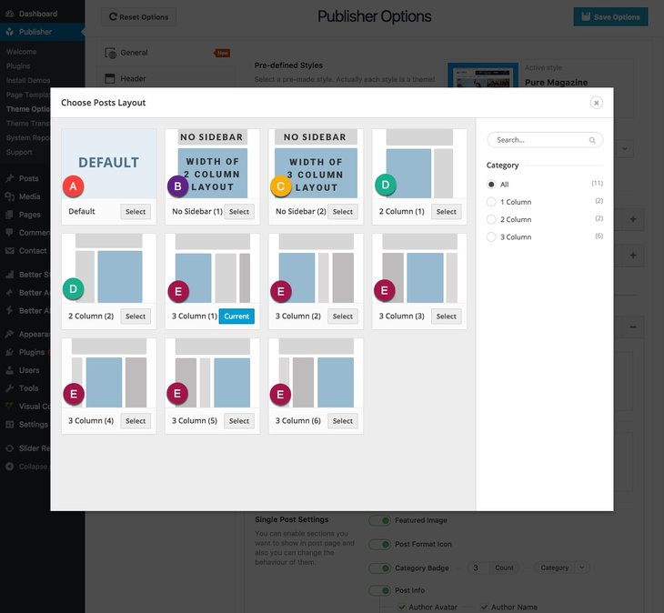 Different layouts for posts in Publisher