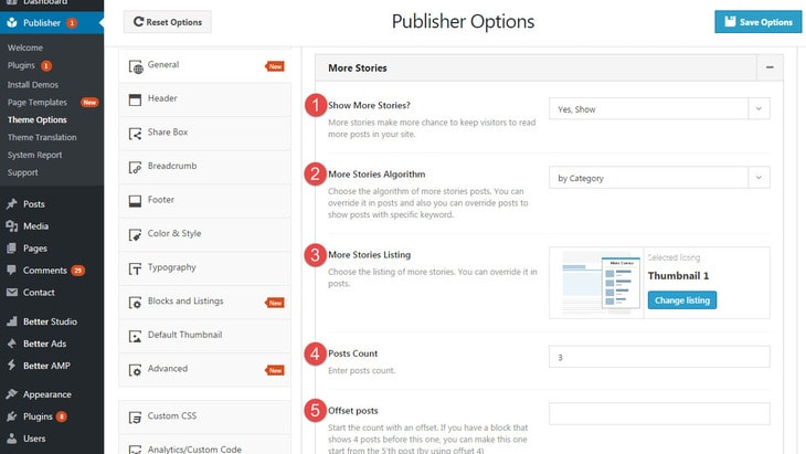 More stories options in publisher - part 1