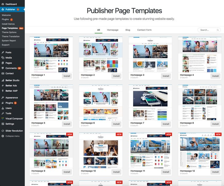Publisher page templates