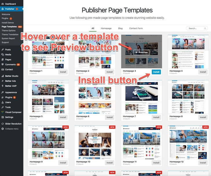 Change Publisher page template