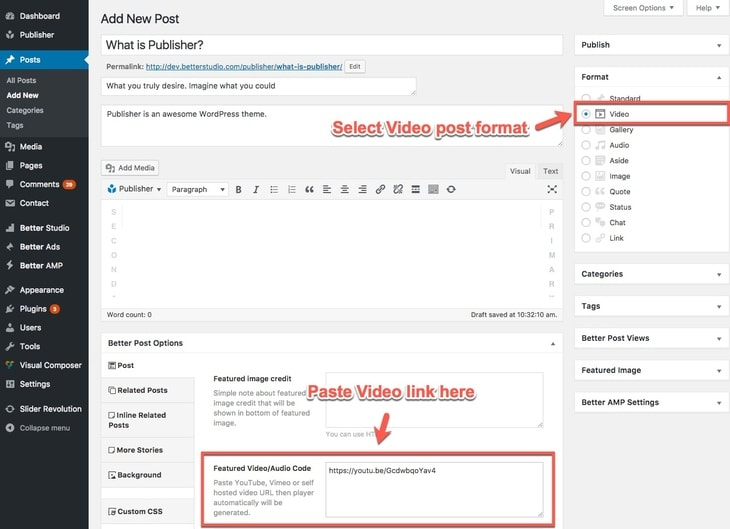 Video post format in Publisher