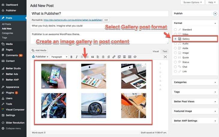 Galery post format in Publisher