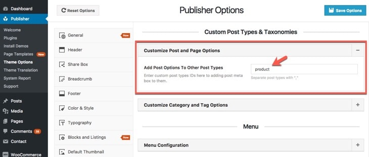 Add Better Post Options to Custom Post Type
