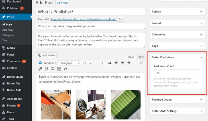 Increase post views manually