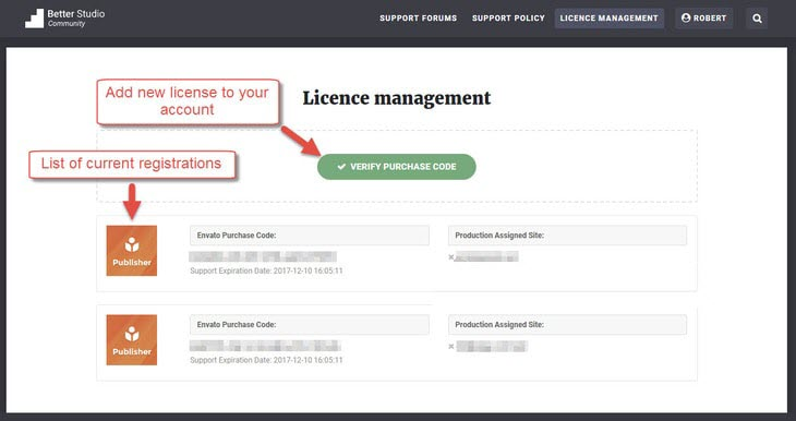 Add new license code to existing account