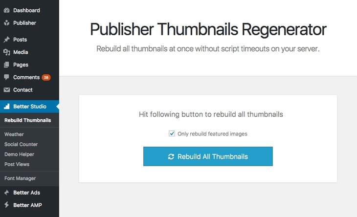 regenerate thumbnails for publisher theme