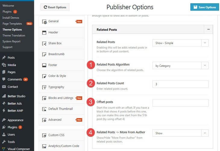 Simple related posts options in publisher