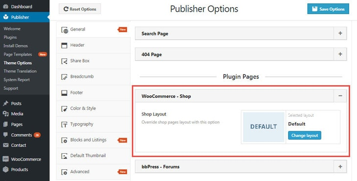 Shop options in Publisher