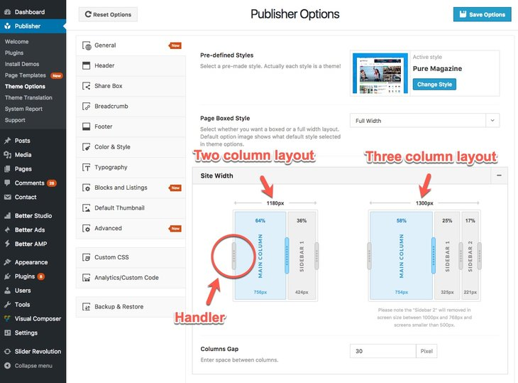 Change site size in Publisher
