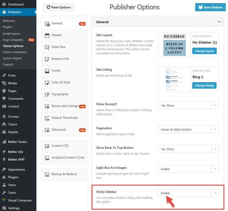 Activating Sticky Sidebar in Publisher