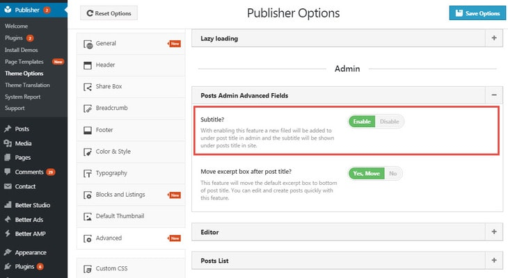 Enable/disable Subtitle in Publisher
