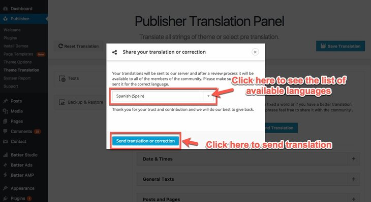 Select a language and share translation in Publisher