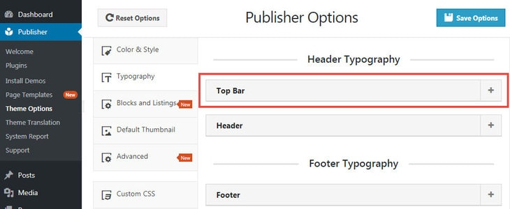 typography options for topbar