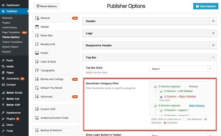 Select categories for Top Bar Newsticker in Publisher