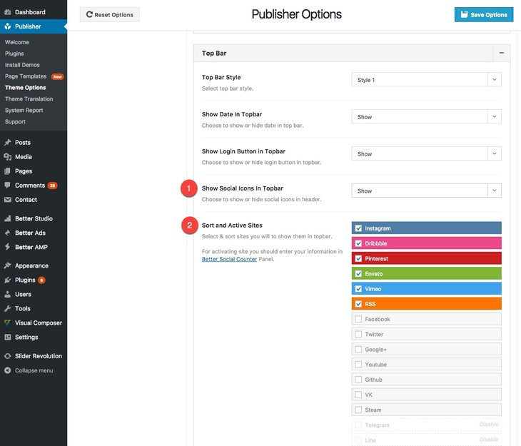 Manage social networks link in Top Bar in Publisher