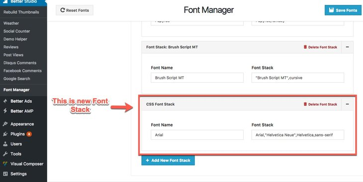 Customize new Font Stack in Publisher