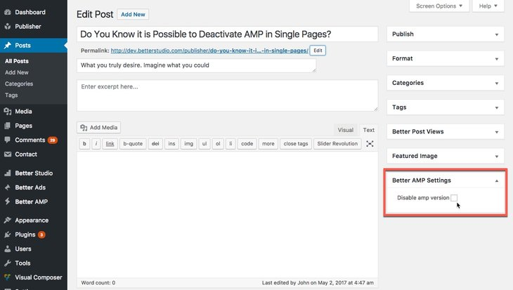 Deactivating AMP in single posts and pages in Better AMP