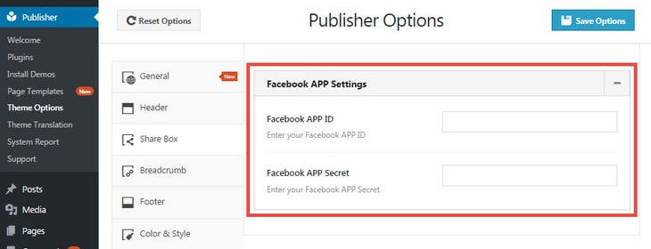 Enter Facebook App Id & App Secret in Publisher