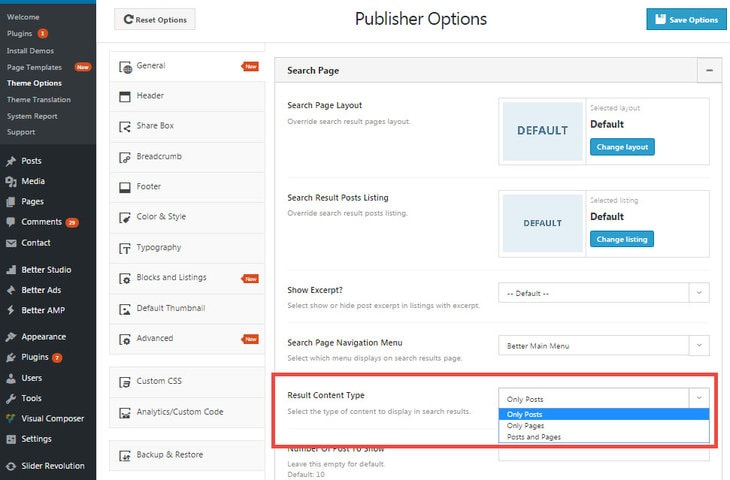 Enable Page search in Publisher