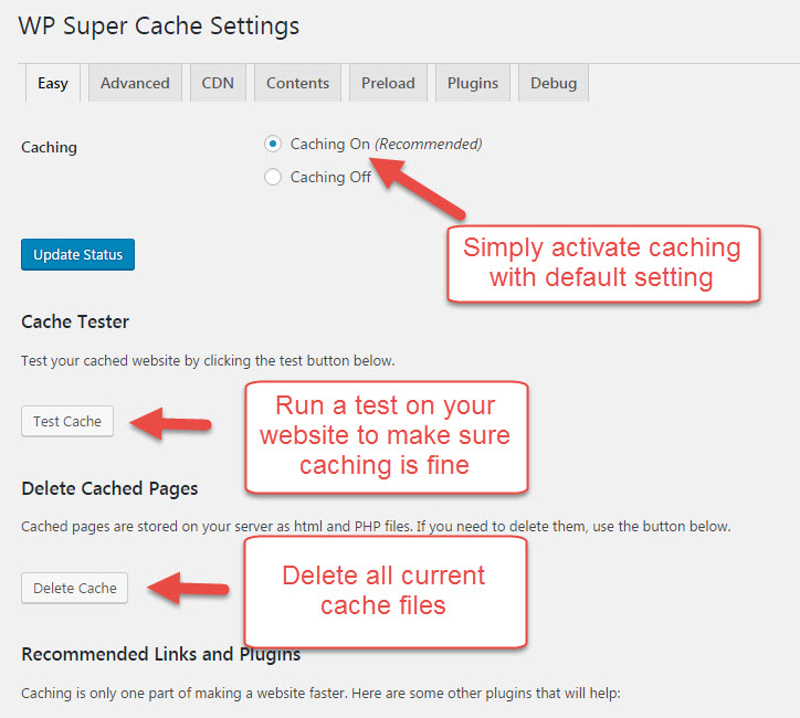 Easy setup of WP Super Cache