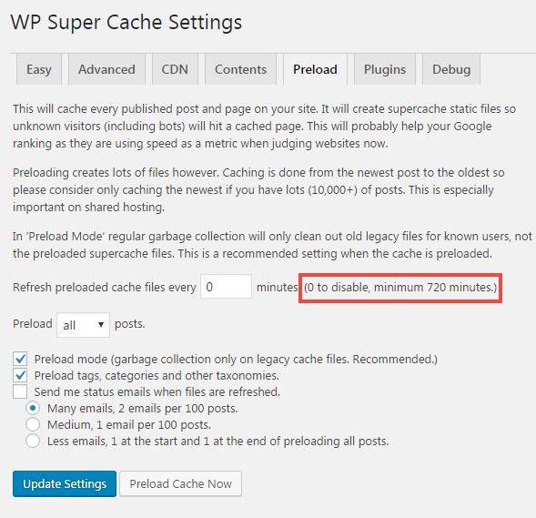 Preload pages with WP Super Cache