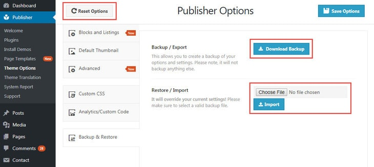 create, restore and reset backup in Publisher