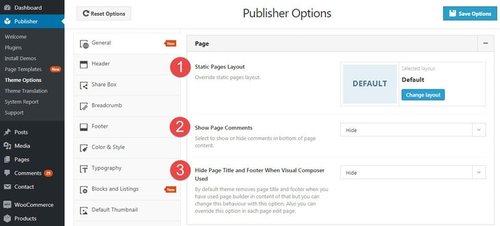 General post settings in Publisher