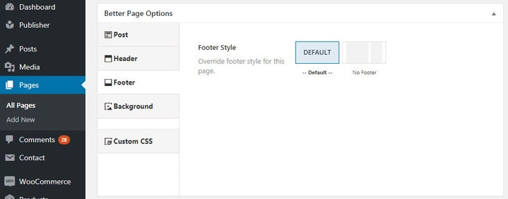 Footer options in Better Page Options
