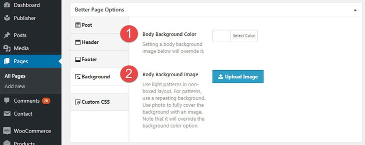 Background options in Better Page Options